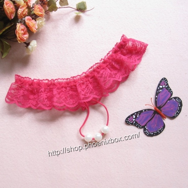 エロ下着の通販商品:真珠ショーツTバック7213・ローズ・イメージ写真