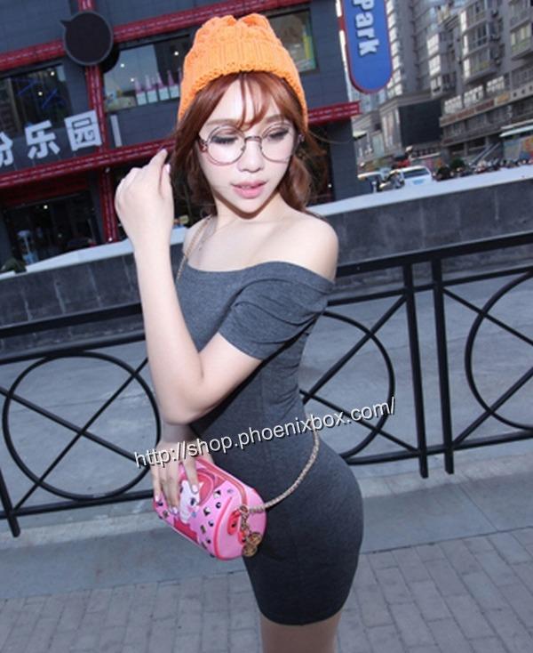 ボディコン通販商品:オフショルダー半袖ミニワンピ90022・グレー・イメージ写真2