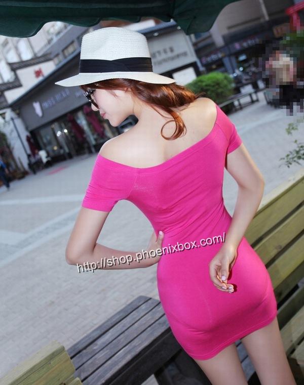 ボディコン通販商品:オフショルダー半袖ミニワンピ90022・ローズ・イメージ写真3