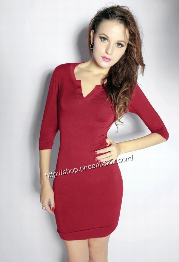 ボディコン通販商品:七分袖のタイトワンピ・赤A185・イメージ写真1