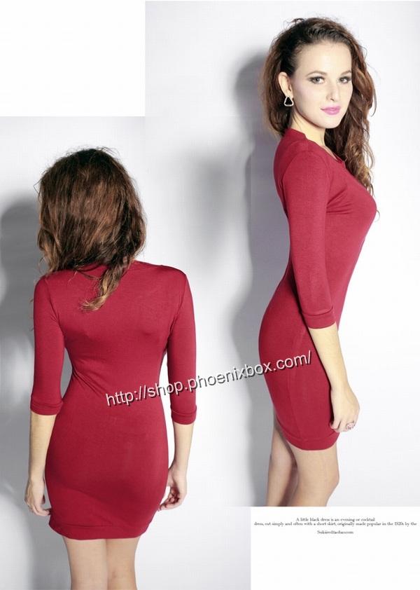 ボディコン通販商品:七分袖のタイトワンピ・赤A185・イメージ写真3