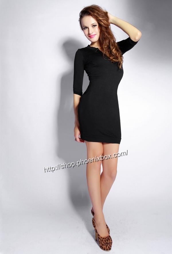 ボディコン通販商品:七分袖のタイトワンピ・黒A185・イメージ写真2