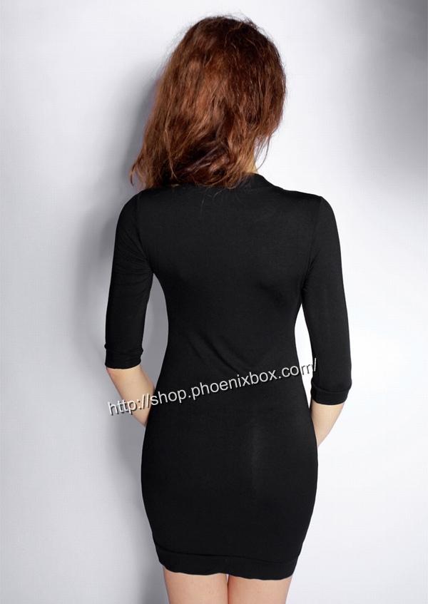 ボディコン通販商品:七分袖のタイトワンピ・黒A185・イメージ写真3