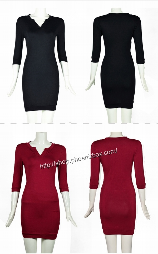ボディコン通販商品:七分袖のタイトワンピ・黒A185・イメージ写真4