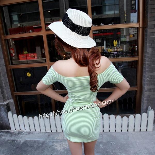 ボディコンの通販商品:肩露出ボディコン・グリーンのボーダー柄・イメージ写真2