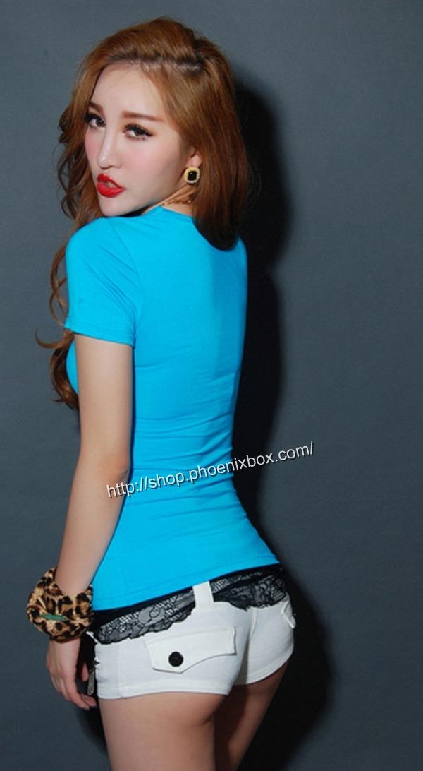 ボディコン通販商品:セクシーチビT・ブルーMA012・イメージ写真3