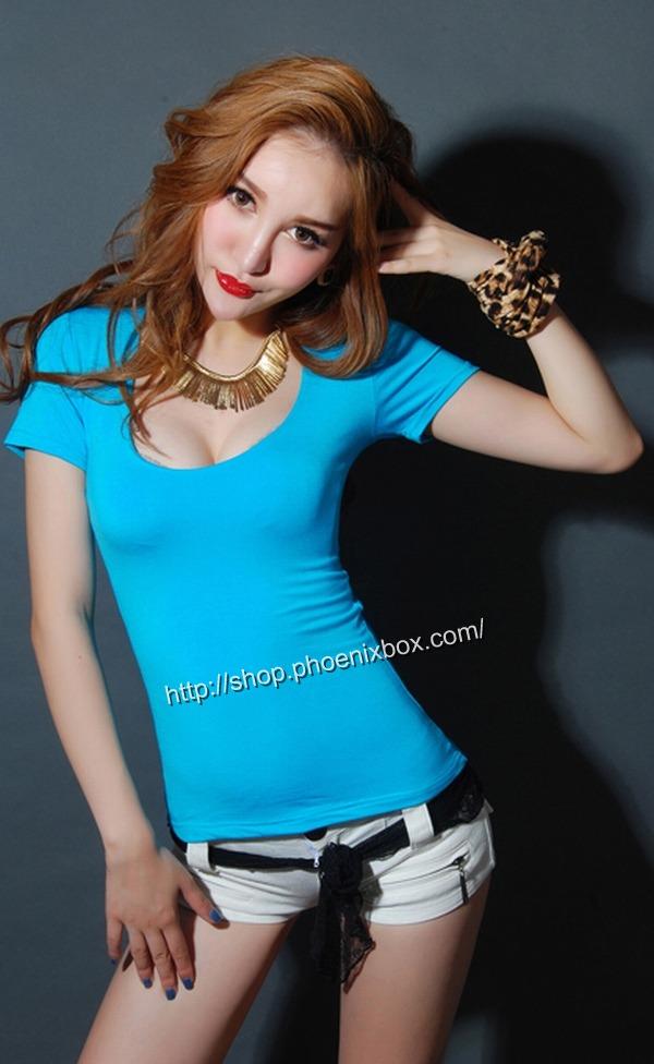 ボディコン通販商品:セクシーチビT・ブルーMA012・イメージ写真1