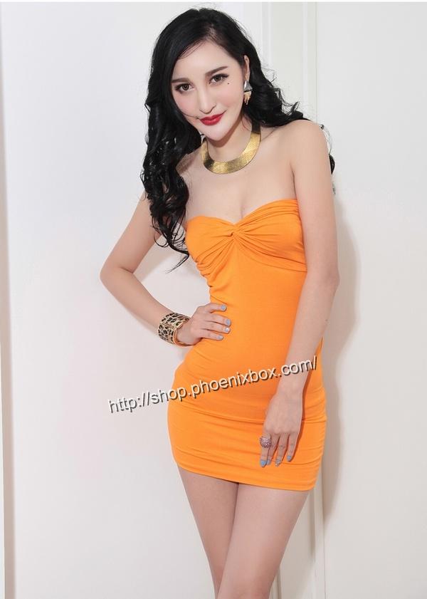 ボディコンワンピ通販商品:ベアトップ・ボディコン・MA6005オレンジ・イメージ写真2