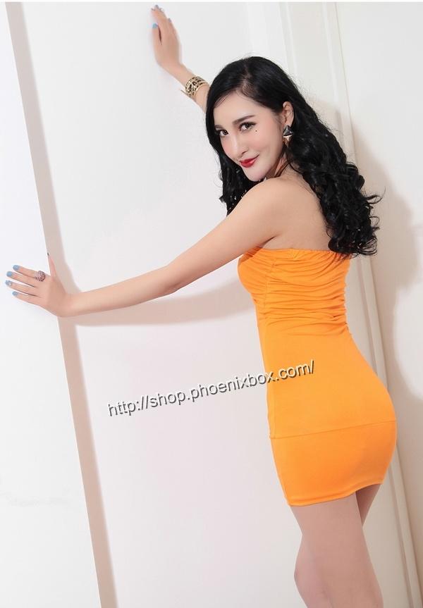 ボディコンワンピ通販商品:ベアトップ・ボディコン・MA6005オレンジ・イメージ写真3