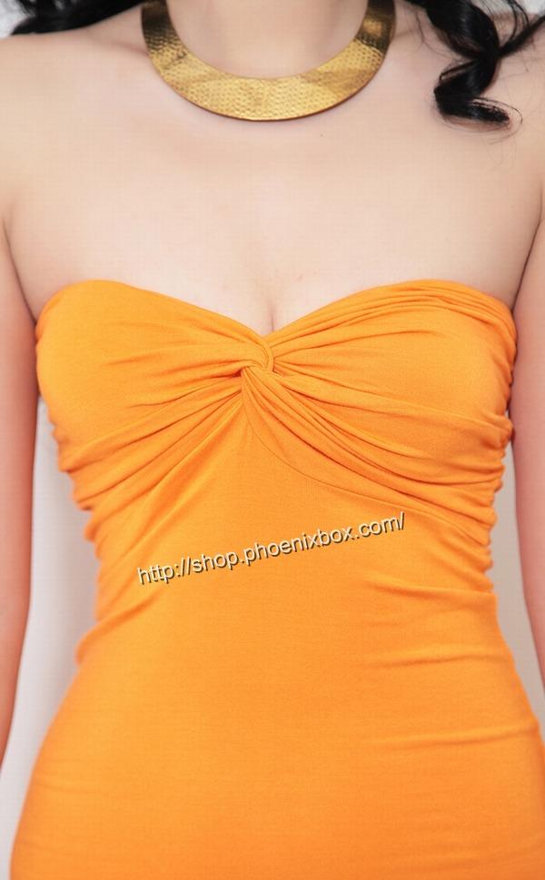 ボディコンワンピ通販商品:ベアトップ・ボディコン・MA6005オレンジ・イメージ写真4