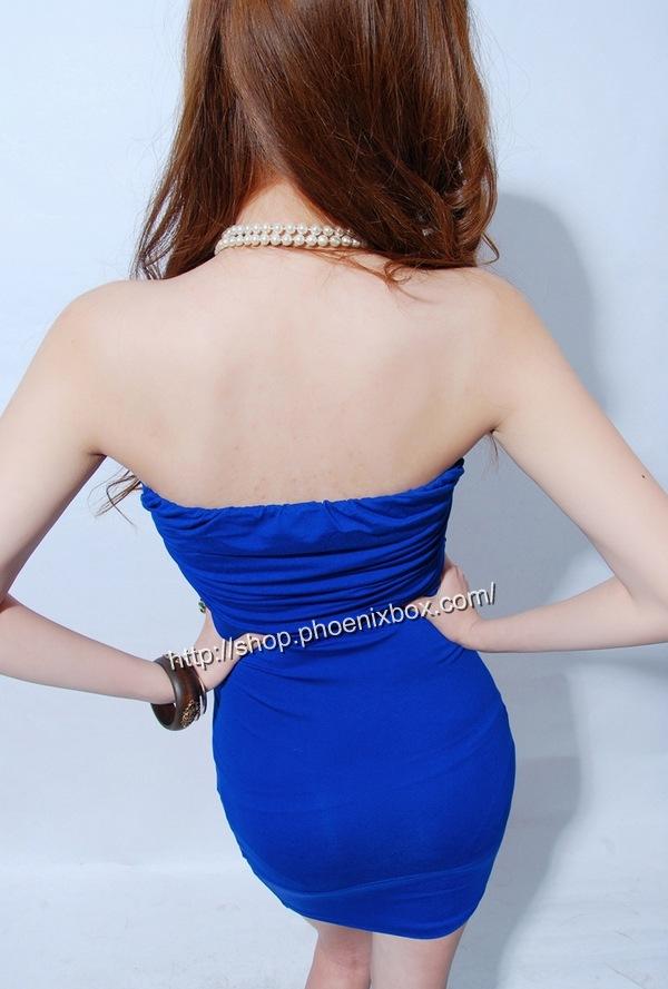 ボディコンワンピ通販商品:ベアトップ・ボディコン・MA6005青・イメージ写真2