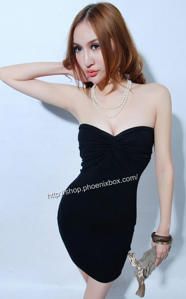 ボディコンワンピ通販商品:ベアトップ・ボディコン・MA6005黒・イメージ写真2
