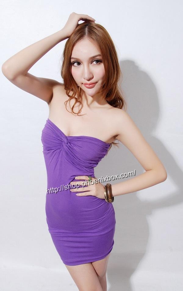 ボディコンワンピ通販商品:ベアトップ・ボディコン・MA6005紫・イメージ写真1