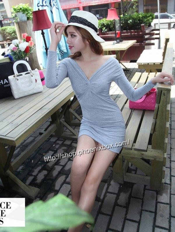 ボディコン通販商品:深Vネック長袖タイトワンピMA9626・グレー・イメージ写真2