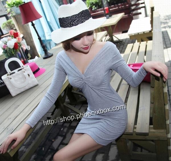 ボディコン通販商品:深Vネック長袖タイトワンピMA9626・グレー・イメージ写真3