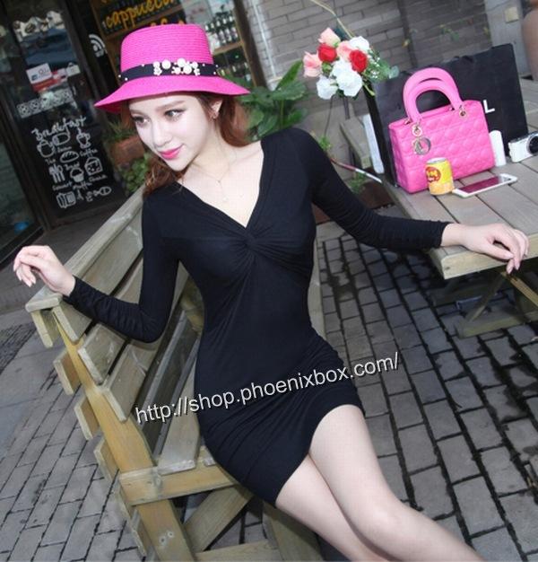 ボディコン通販商品:深Vネック長袖タイトワンピMA9626・黒・イメージ写真3