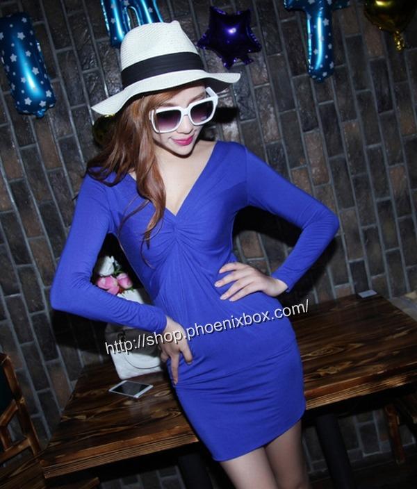 ボディコン通販商品:深Vネック長袖タイトワンピMA9626・ブルー・イメージ写真3