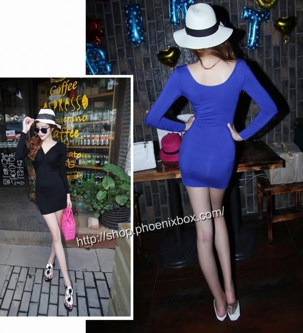 ボディコン通販商品:深Vネック長袖タイトワンピMA9626・ブルー・イメージ写真4