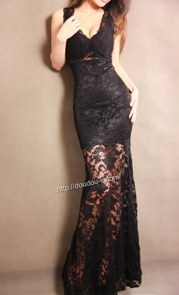 ボディコン通販商品:総レースのロングドレス・黒XS2191・素人着用写真3
