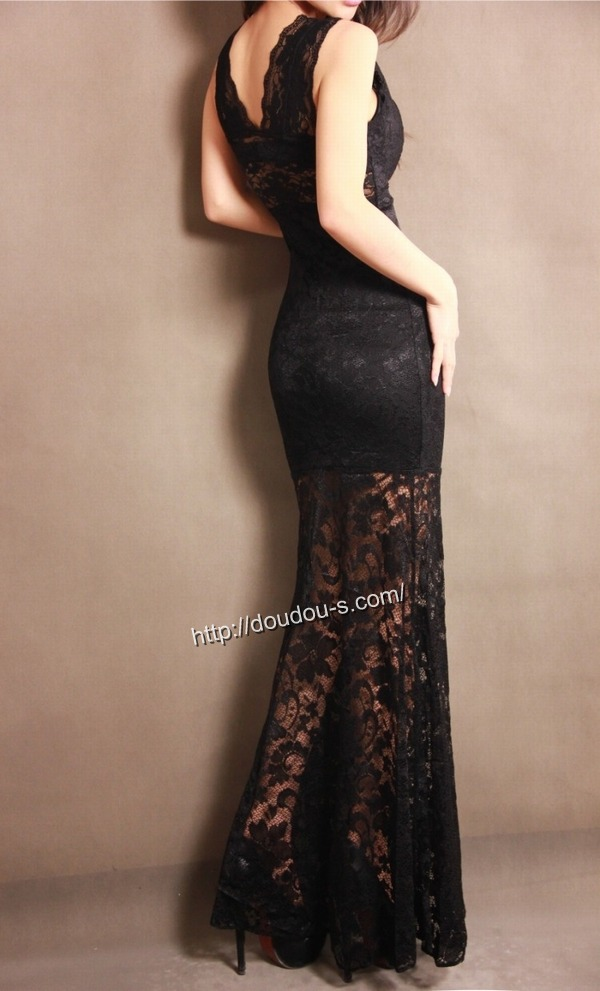 ボディコン通販商品:総レースのロングドレス・黒XS2191・素人着用写真4