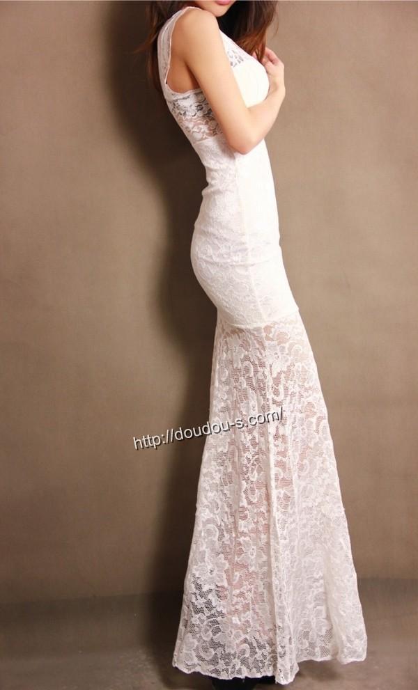 ボディコン通販商品:総レースのロングドレス・白XS2191・素人着用写真3