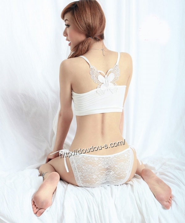 エロ下着の通販商品:サイド紐結びショーツ・白JP881・素人着用写真3