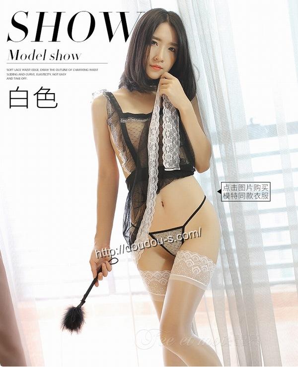 エロ下着の通販商品:光沢ガーターストッキング・白8235・イメージ写真2