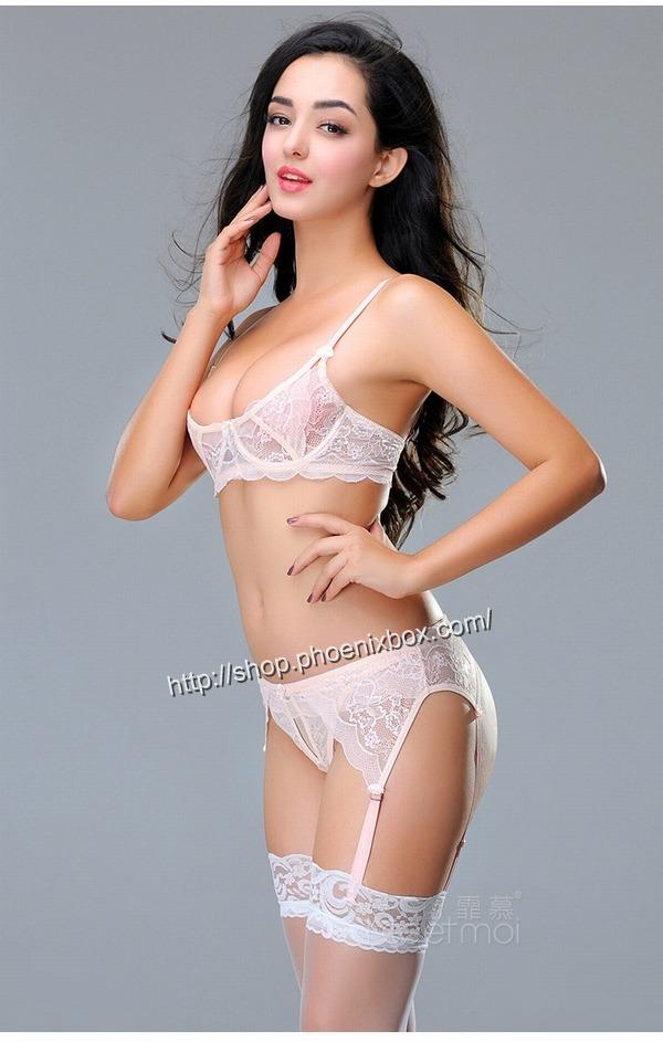 エロ下着の通販商品:ワイヤー付きブラ&ショーツ&ガーターベルト8886・ピンク・イメージ写真2